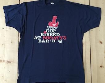Vintage 80s I got Ribbed at Shortys BBQ Soft and Thin Screen Stars T Shirt - Medium