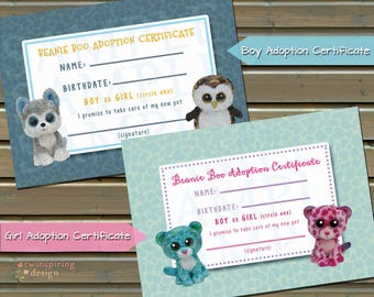 Beanie Friend Adoption Certificate INSTANT DOWNLOAD - Boys or Girls - 4 Files Included!