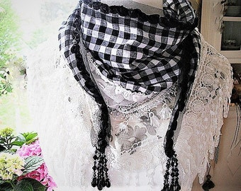 Shawl with lace shabby black white