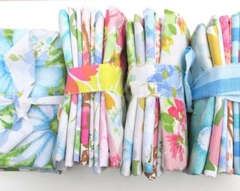 Fat Quarters Bundle, Vintage Sheet Fat Quarter Fabric Bundle, Precut Fabric, Quilting Fabric Bundles, Precut Quilt Kit, Vintage Sheet Supply