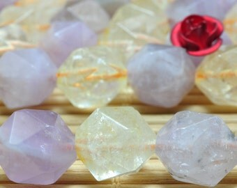 15 inches Natural Citrine and Amethyst faceted Nugget beads in in 10mm