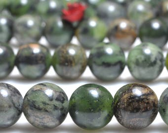 47 pcs of Natural Detrite Green Jade smooth round beads in 8mm  (06185#)