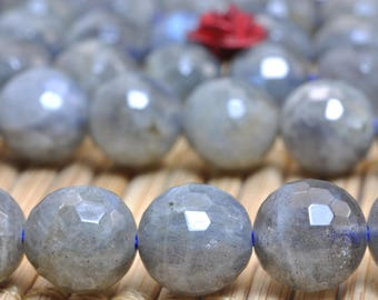 47 pcs of  A Grade--Natural Labradorite faceted round beads in 7.8mm (0080#)