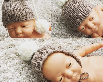Newborn size knit pixie bonnet with pompom,beanie with pompom,or long tail hat with pompom,photo prop,gift idea,coming home,ready to ship