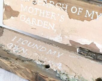 "Hand painted vintage reclaimed wooden hinge ""mother's Garden"" sign"