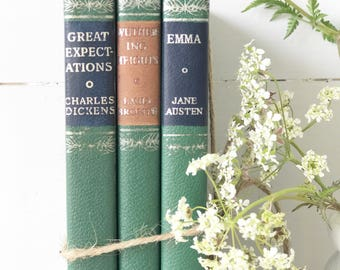 A set of three literary classic books Wuthering Heights, Great Expectations and Emma