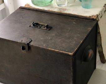 A vintage engineer's storage box