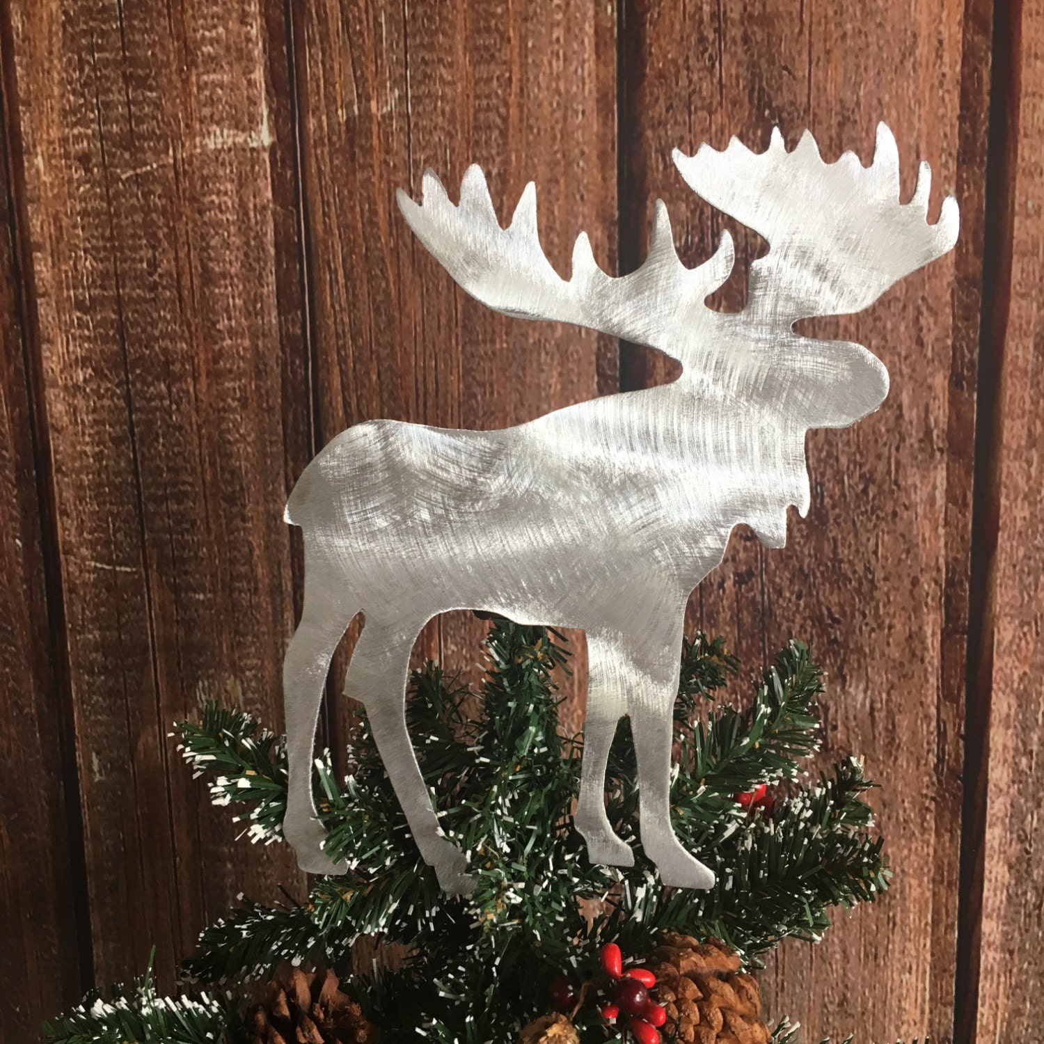 Moose Handcrafted Metal Christmas Tree Topper Holiday