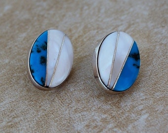 Santo Domingo Mosaic Mother of Pearl Sterling Earrings