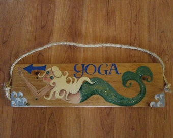 "Blonde mermaid ""YOGA"" hand painted wooden sign"