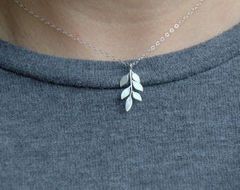 sterling silver leaf necklace, everyday necklace, leafy branch, nature jewelry, gifts for her, silver simple necklace, everyday jewelry