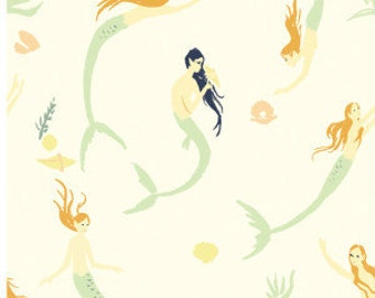 Mermaid's Day - Double Gauze Organic Cotton Fabric - Saltwater by Emily Winfield Martin for Birch Fabrics