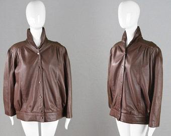 Vintage 80s Womens Leather Jacket Brown Real Leather Genuine Leather Coat Oversized Jacket Biker Chick Womens Medium 1980s Grunge Jacket