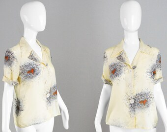 Vintage 70s Disco Shirt Ladies Silky Blouse Novelty Grouse Print Cream Hippie Shirt Pointy Collar Top Woodland Print Short Sleeve Shirt
