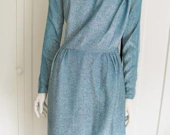 Vintage 40's - 50's   Blue Metallic Dress Shirred  Dress - Size  Small - Medium