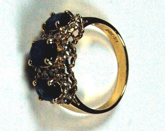 14k Gold Ring With 3 Oval Sapphires and Diamonds