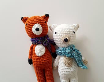 Custom Cotton Crochet Fox - Made to Order - Heirloom Quality Plush Toy for Baby Toddler - Gender Neutral Nursery Baby Shower Gift