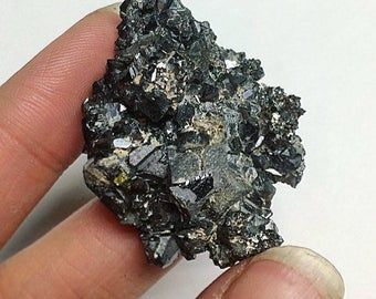 Galena Miniature Black Sphalerite Gunmetal Metallic Minerals Small Unpolished Crystal Cluster Bulgaria