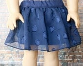 Doll Clothes | Trendy Navy Blue Heart Print Overlay SKIRT for 18 Inch Dolls such as American Girl Doll