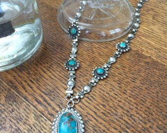 Navajo Sterling and Turquoise Necklace - Signed