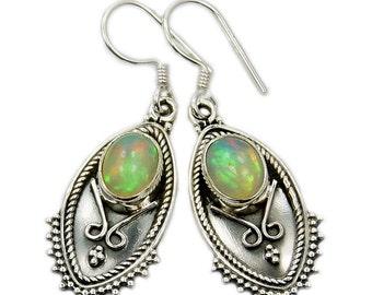 Ethiopian Opal Earrings, Sterling Silver Dangle Earrings ; V253 Jewelry