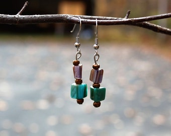 Eclectic Rose and Jade Green Earrings (FREE SHIPPING!)