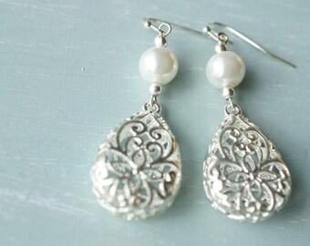 Earrings, silver and pearl tear drop filigree earrings