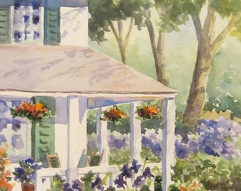 Original Watercolor Painting//Porch// Garden//House//Flowers//Country House//Fiorello
