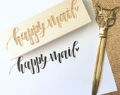 Happy mail stamp / happy mail / pretty packaging / rubber stamp / stationery