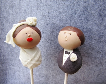 Bride & Groom Cake Pop Toppers (Custom Wedding Cake Toppers or Wedding Gift)