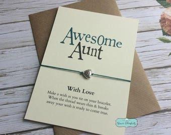AUNT Friendship Bracelet, Aunt Bracelet Gift, Aunt Card, Gift for Aunt, Auntie Birthday, Sterling Silver Aunt, Aunt Wish Bracelet