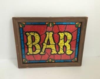 Vintage Glitter Art Foiled Bar Sign - Framed