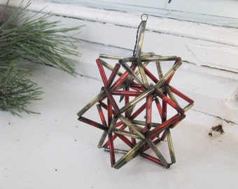 Antique Mercury Glass Christmas Ornament, Red and Yellow Ornament Construction Bugle beads, Vintage Soviet 1930-50s Xmas and New Year