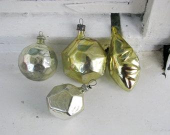 Set of 4 Vintage Soviet Christmas tree decoration, Golden Yellow Mercury Glass Ornament, Christmas decor, Retro Tree decoration, M