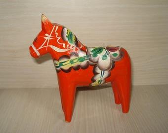 "Vintage Swedish Wooden Dala Horse with Label 5""- Nils Olsson -  Free shipping!!!"