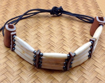 American Indian buffalo bone choker necklace