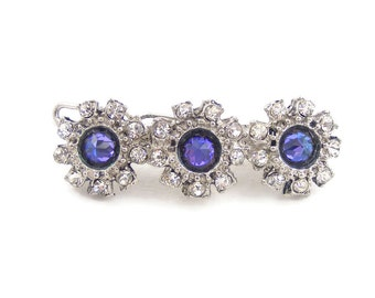 Heliotrope Purple Crystal Barrette, Sparkly Vintage Hair Accessory, One of a Kind Clip Fastener