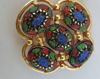Vintage Sarah Coventry Quatrefoil Colorful Floral Brooch; Sarah Coventry Pin