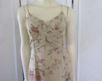 """1990s Beige Voile Maxi-Dress with Roses Print by """"Shelli Segal,"""" Size 6"""