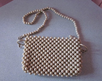 "1960s Beige Plastic Beaded Shoulder Bag, ""Hand Made in Hong Kong"""