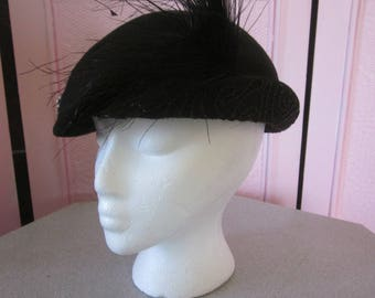 """1940s Black Wool Felt Hat with Feather by """"Glenover"""""""