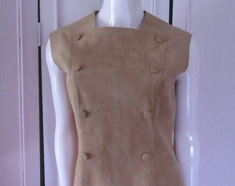 """1970s Tan Ultra Suede Jumper-Style Dress by """"POSH,"""" Size 6"""