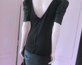 VICTOR COSTA Black Crepe Dress from the 1980s, Size 8 - 10