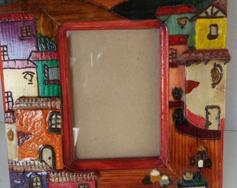 9x10 Mexican folk art painting  frame  Mexican terra cotta clay Adobes  hand painted Mexican landscape