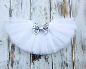 White Tutu Christmas Outfit Girl Baby Infant