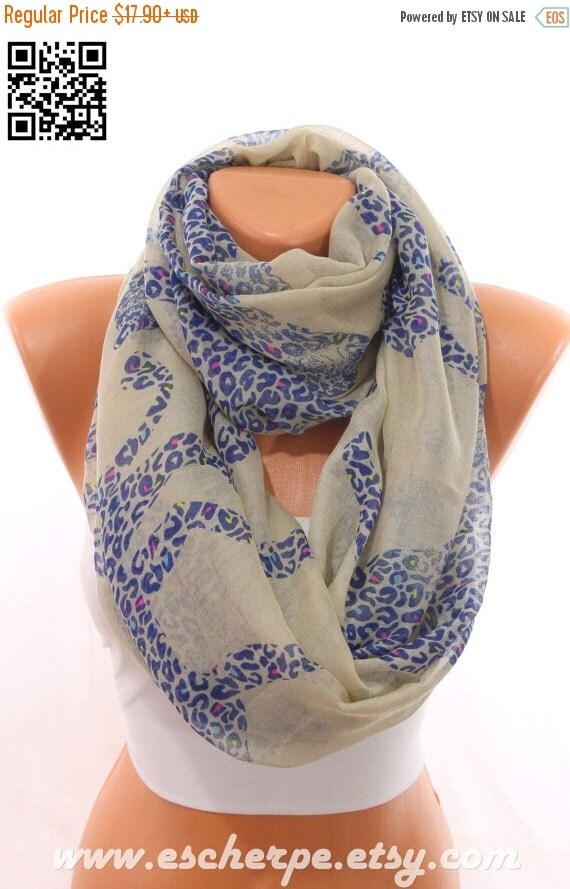 Leopard Print Beige Blue Scarf So Soft Lightweight By Escherpe