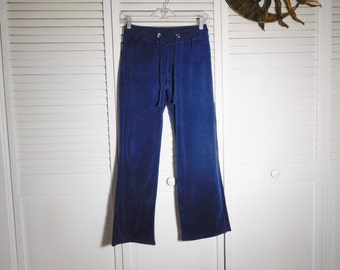 Navy Blue Velour Sweatpants Vintage Trackpants 90s Clothes Drawstring Waist Buttoned Back Pockets Track Pants Size Small