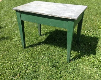 Green Primitive Pinned Work Table With Zinc Top TV Stand Side Table
