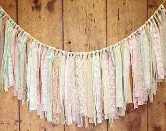 Pink Mint & Gold Rag Tie Banner, Cotton, Lace, Shabby Chic, Rag Tie Garland, Photo Prop, Wedding, Shower, Custom, Nursery, Cake Smash