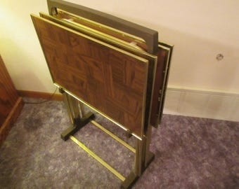 Set of 4 TV Trays with Storage Rack *  folding table trays* Wood grain patchwork Design * TV table